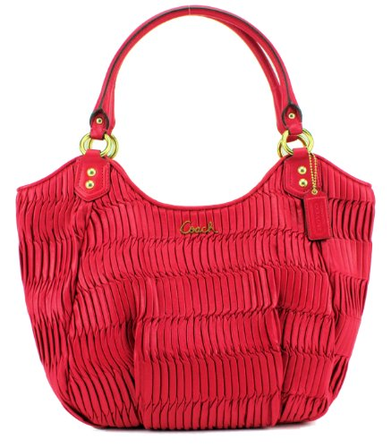 Coach Gathered Leather Shoulder Tote Raspberry