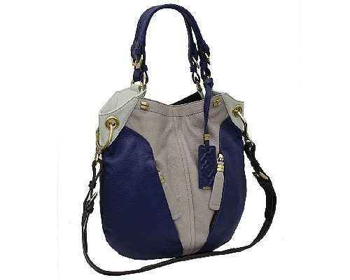 orYANY Victoria Dove Blue Multi Pebbled Leather Victoria Colorblock Large Hobo Shoulder Bag