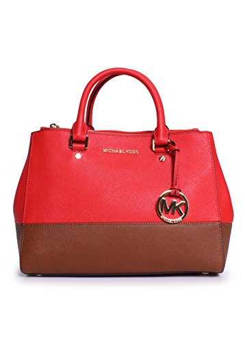 Michael Kors Sutton Medium Satchel Saffiano Leather Handbag Orange