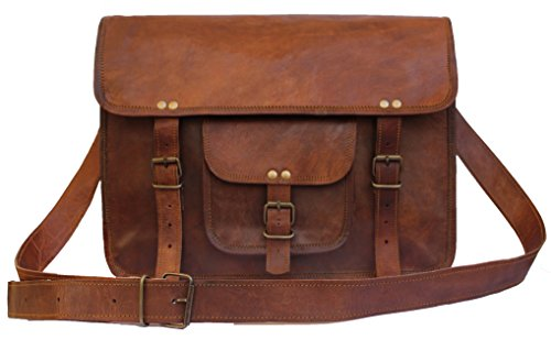 """Leather Bags Now 15"""" Inches Classic Adult Unisex Cross Shoulder Genuine Leather Messenger Laptop Briefcase Bag Satchel Brown"""