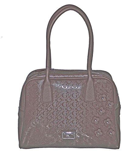 GUESS Newbel Signature Satchel Tote Bag Handbag Taupe