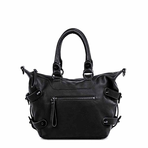Linea Pelle Dylan Icon Satchel in Black with Gunmetal Hardware