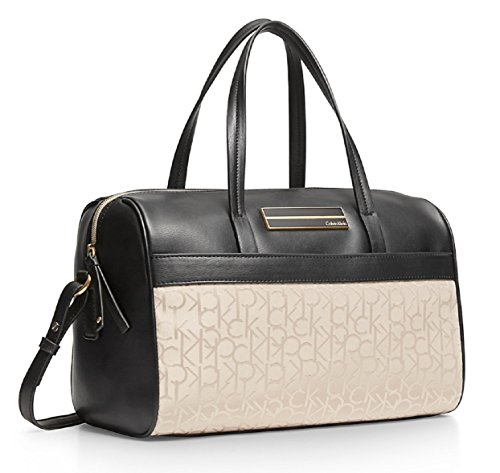 Calvin Klein Logo Jacquard Sport Bowler Satchel Bag Handbag (Ash)