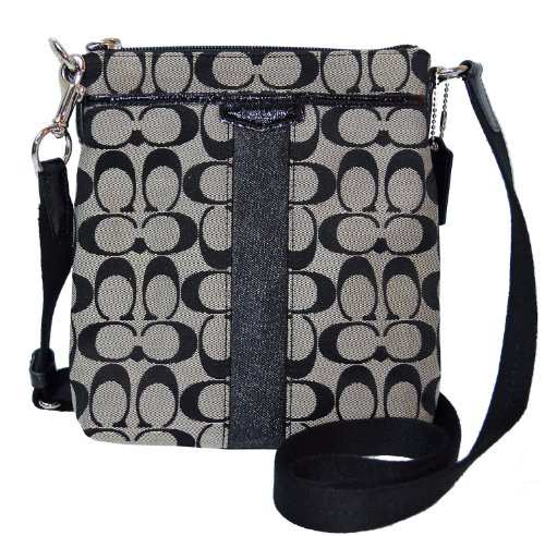Coach Signature Stripe 12CM N/S Swing-pack Cross-body Bag – Black & White