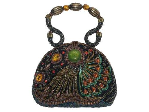 WF069-01 multi brown color Beaded Unique Handmade Velvet Material Peacock Style Evening Handbag