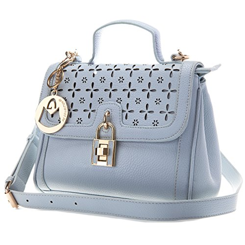 MG Collection EIRA Pattern Cut Out Design Flap Satchel Tote Purse Handbag – Blue