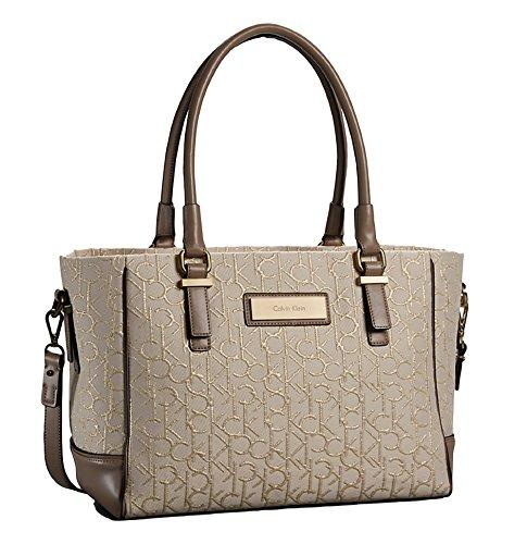 Calvin Klein Logo Jacquard City Shopper Tote Shoulder Bag Handbag Satchel