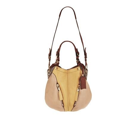 Oryany Custard Multi Pebble Leather Victoria Colorblock Large Hobo Shoulder Bag