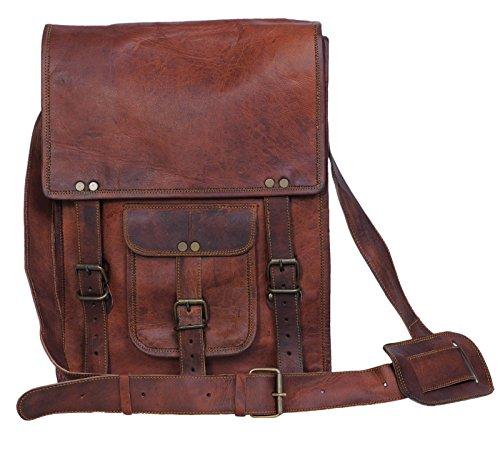 Komal's Passion Leather 11 Inch Brown Sturdy Ipad Leather Messenger Satchel Shoulder Bag