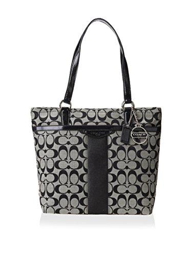 Coach Signature Stripe Tote Shoulder Bag, Style 28504 Black & White