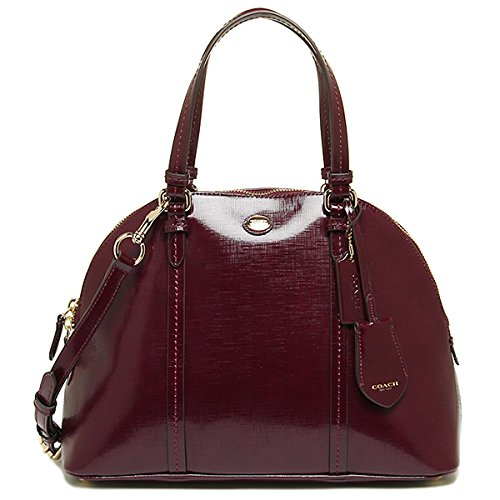 Coach Peyton Saffiano Leather Cora Domed Satchel in Sherry Red