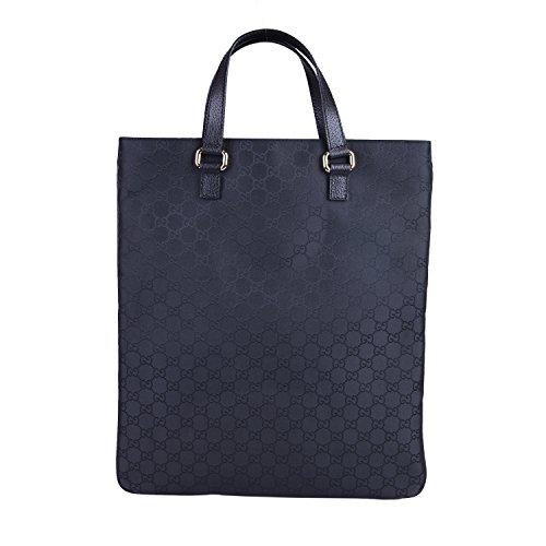 Gucci Women's Black Canvas Leather Trimmed Guccissima Print Tote Handbag Bag