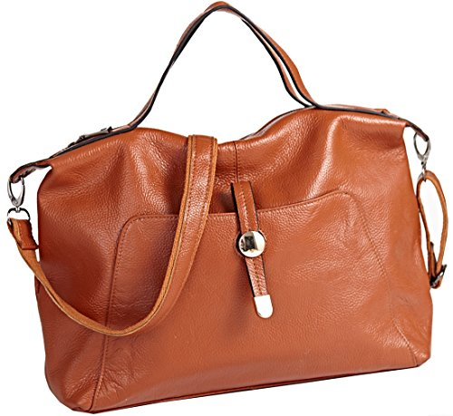 Heshe New Office Lady High-capacity Genuine Leather Cross Body Shoulder Bag Handbag