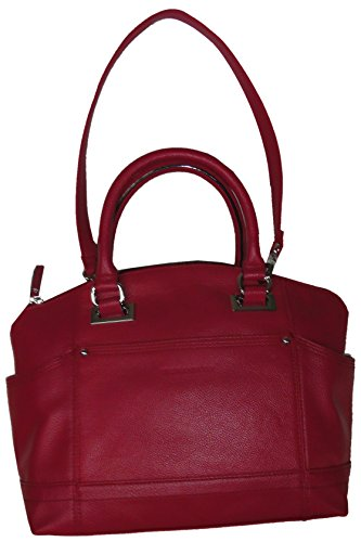 Tignanello Women's Genuine Pebble Leather, Pretty Pockets Convertible Satchel Handbag, Raspberry