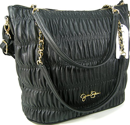 Jessica Simpson Purse Chain Shoulder Hand Bag Ursula Tote Pleated Black Gold