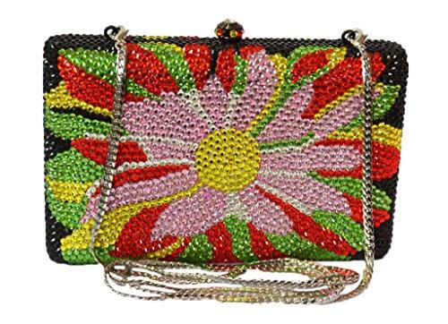MISSBASS New Allover crystal clutch oversized sun flowers?Swarovski handbag evening party clutch
