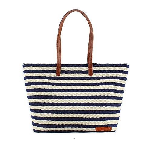ZLYC Women Ladies Summer Beach Handbags Stripe Tote Canvas Shoulder Zipper Bag Blue & Beige