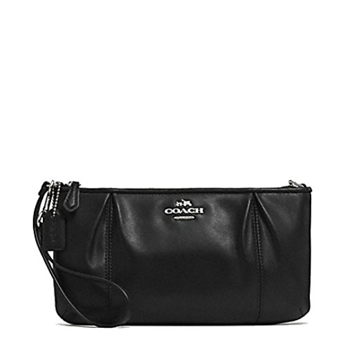Coach Colette Black Leather Zip Top Wristlet