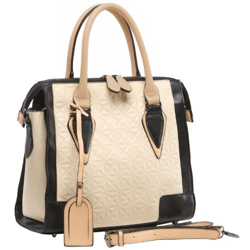 MG Collection JULES Cream Textured Pattern Office Tote Satchel Handbag