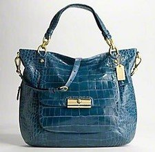 Coach Limited Edition Kristin Croc Embossed Leather Business Satchel Bag Purse Tote 16795 Denim Blue