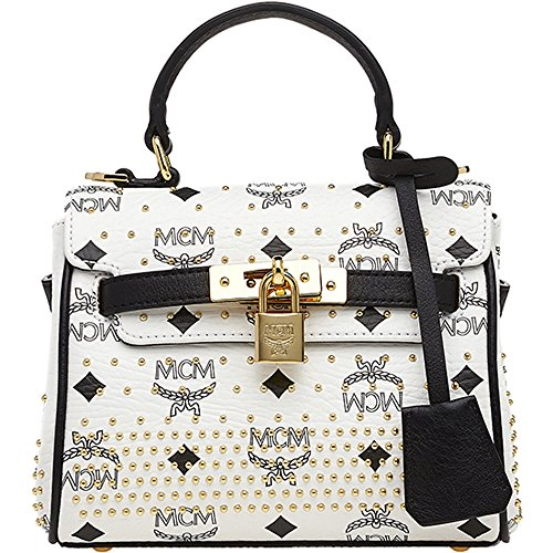 Authentic MCM Gold Visetos Satchel Bag Mini Size White Color MWE4SVI62WT Limited Last 1 piece