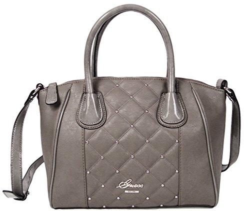 Guess San Jose Quilted Satchel Handbag Bag Purse (Grey)