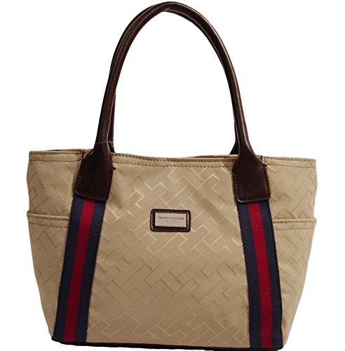 Tommy Hilfiger Logo Tote Bag Handbag Purse (Brown / khaki)