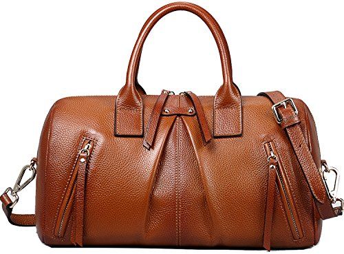 Heshe Cowhide Top Layer Soft Leather Vintage Ruched Top-handle Shoulder Luggage Cross Body Handbag