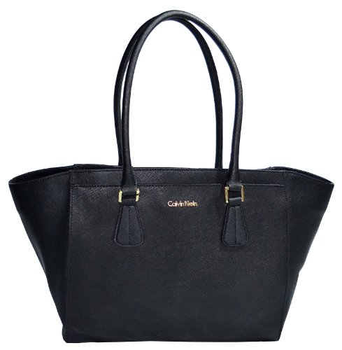 Calvin Klein Bag Saffiano Black Leather Handbag CK Purse