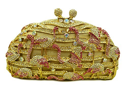 MISSBAGS Women¡¯s red -crowned Crane hardcase evening clutch crystal studded party Shiny handbag wedding bridal bag