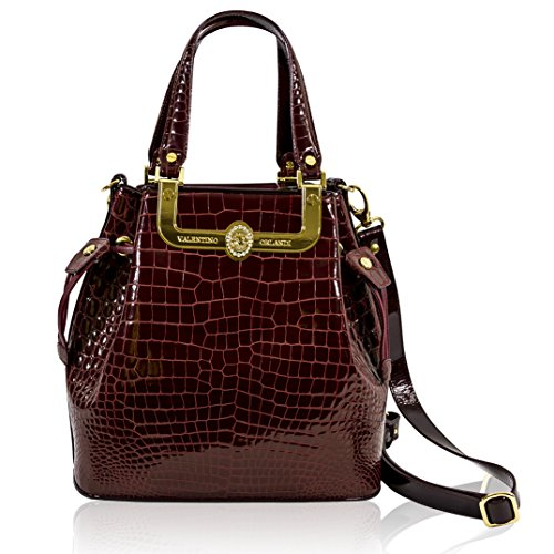 Valentino Orlandi Italian Designer Burgundy Croc Leather Gilded Drawstring Bag