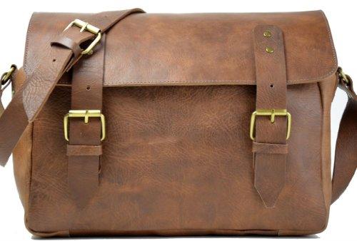 Gusti Leder nature Genuine Leather Satchel Messenger Shoulder Smart Vintage Business Office Uni College Bag Unisex Natural Brown U25