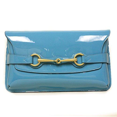 Gucci Horsebit Turquoise Blue Patent Leather Clutch Bag