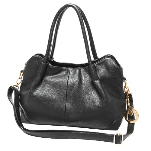 MG Collection ASSA Classic Black Top Handle Office Tote Purse Style Shoulder Bag