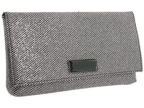 BCBGeneration Black Glitter Tate Foldover Clutch Handbag