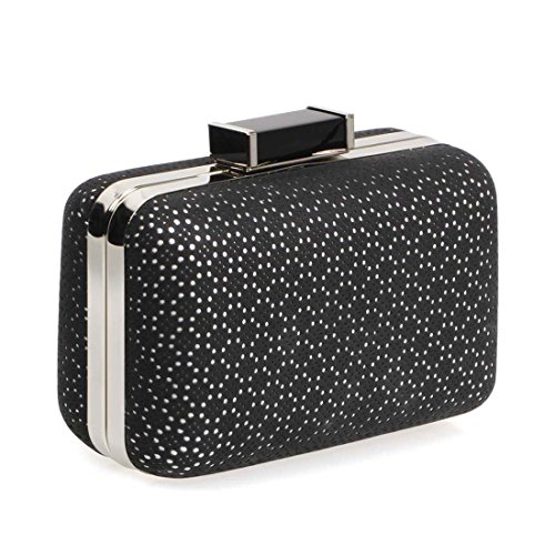 BMC Womens PU Faux Leather Wrapped Perforated Pattern Hardcase Fashion Clutch