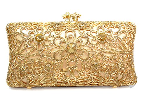Floral Luxury Crystal Hard Case Evening Clutch Handbag with Detachable Chain, Gold