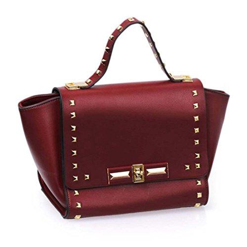 BMC Womens PU Faux Leather Envelope Flap Gold Colored Rivet Shoulder Handbag