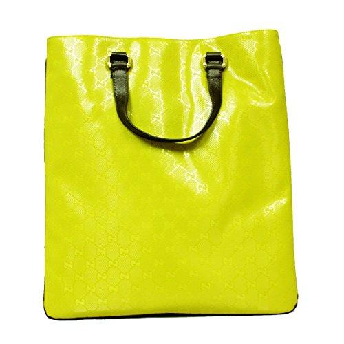 Gucci Imprime GG Logo Yellow Gold Brown Leather Trim Tote Handbag