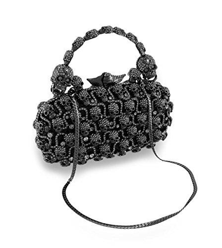 Rhinestone Encrusted Gunmetal Skulls Clutch Purse Evening Bag