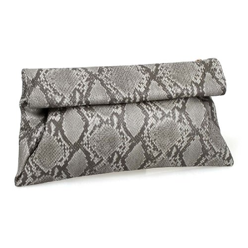 BMC Synthetic Snakeskin PU Leather Roll Up Magnetic Clasp Evening Party Clutch