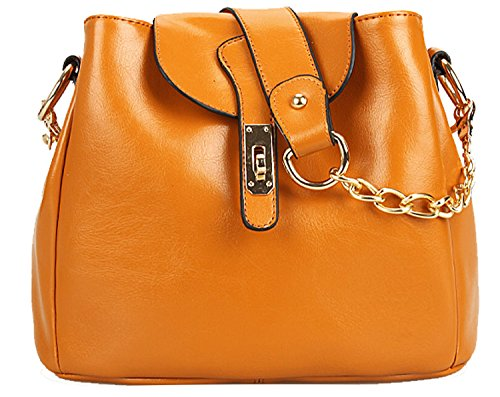 Heshe Soft Genuine Leather Cross Body Shoulder Bag Handbag Easy Carry with Chain