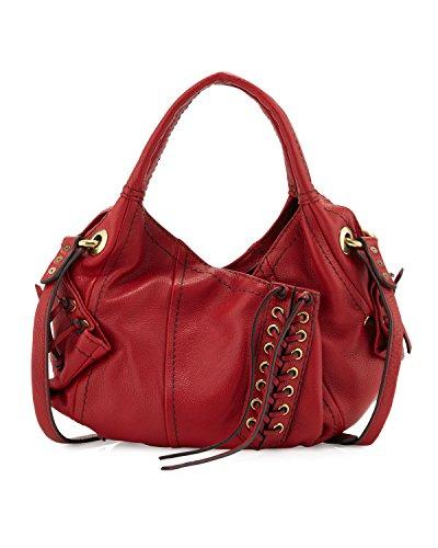 Oryany Heather Mini Hobo Stitch Up Crossbody Cherry Red Leather Shoulder Purse