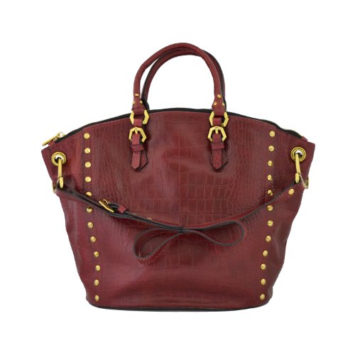 Oryany Handbags Large Studded Convertible Croc Embossed Leather Mila MA014 Satchel Tote Bag in Cabernet Burgandy