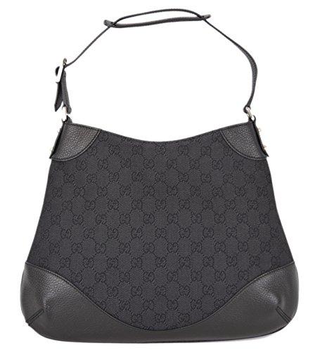 Gucci Women's 272386 Black Denim and Leather GG Guccissima Handbag O/S