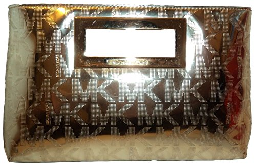 Michael Kors Pale Gold Mirror Metallic Signature Large Berkley Clutch