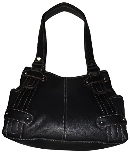 Women's Tignanello Purse Handbag Perfect 10 Leather Studded Shopper Black