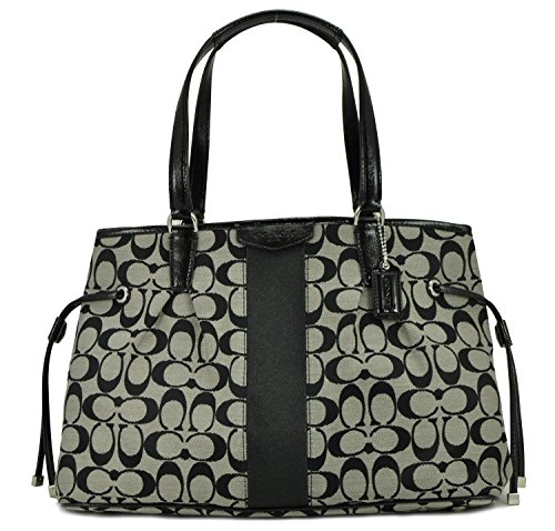 Coach Signature Stripe Drawstring Carryall in Black & White – Style 28501