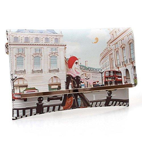 BMC Womens Textured PU Leather Postage Stamp Design Print Fashion Clutch Handbag