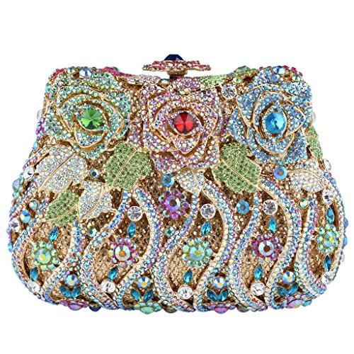 Yahoho Women's Bridal Blooming Flowers Evening Bag Party Clutch Handbag Multicolor